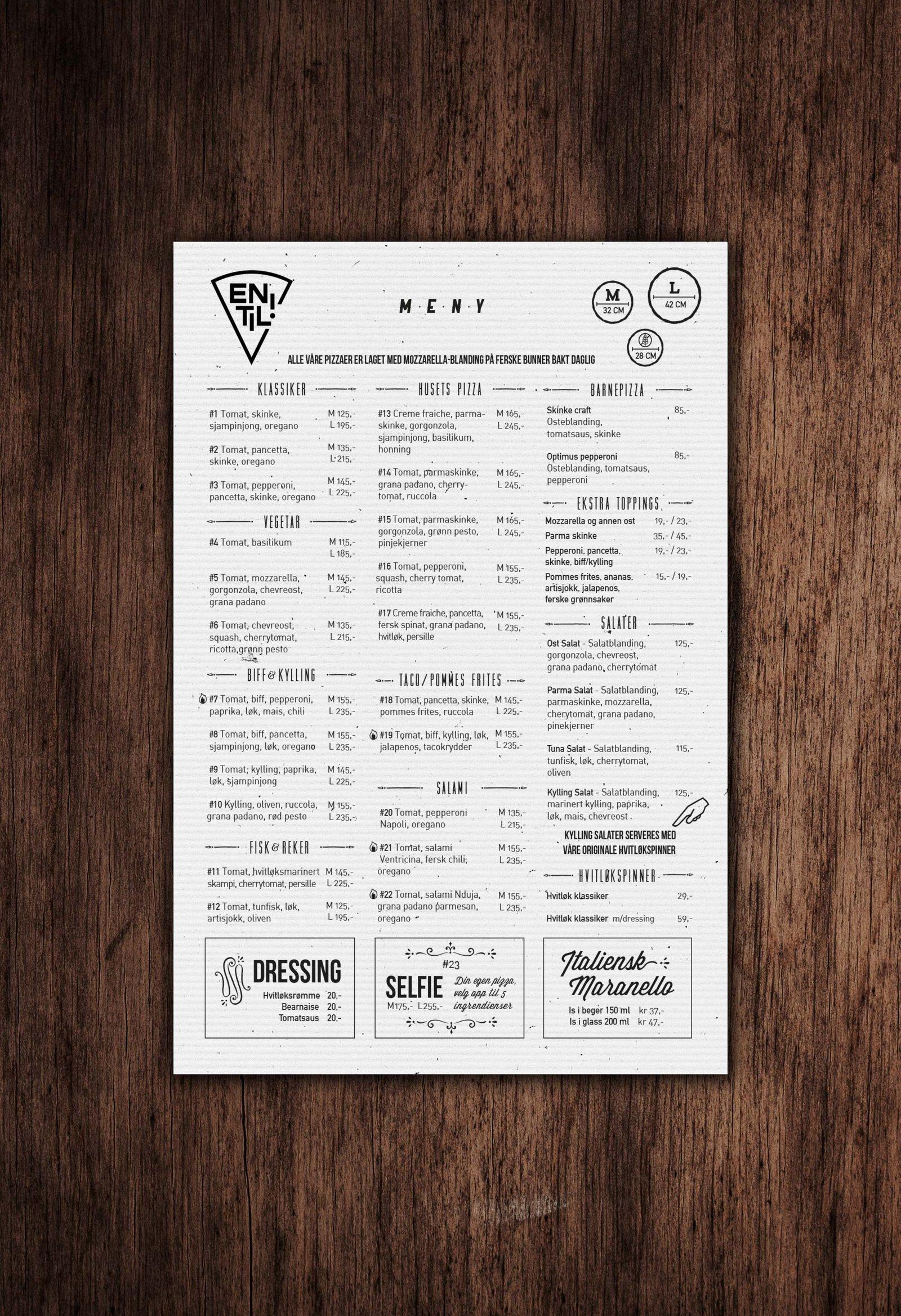 En Til Pizza Meny